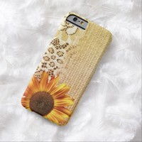 rustic girly western country lace burlap sunflower  iPhone 6 case