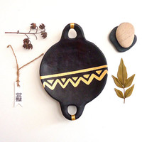 Hand painted Black Ceramic Gold Triangle Comal. Housewarming Gift Idea. Geometric Gold Ceramic.