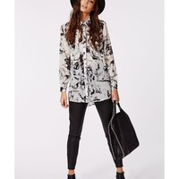 Missguided - Henny Blurred Rose Print Boyfriend Shirt Grey