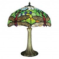 16inch (40cm) Handmade Traditional Dragonfly Tiffany Table Lamp - Blue and Green