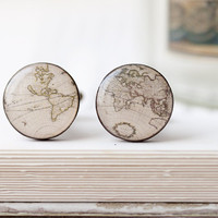 World map cufflinks - Wedding cuff links for groom, groomsmen - christmasinjuly CIJ (C022)