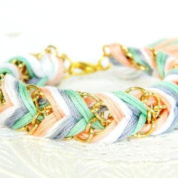 Iced Mint & Peaches - Peachy Keen, Pearl, Platinum,  Mint  - Chevron Braided Modern Friendship Bracelet - Gold Chain
