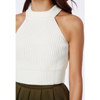 Missguided - Denyse Cream Cropped Jumper With Racer Neck