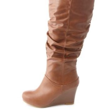 Bamboo Slouchy Wedge Boots by Charlotte Russe - Chestnut