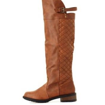 Qupid Quilted Knee-High Boots by Charlotte Russe - Cognac
