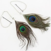 """Genuine Peacock feather hair extensions 2 pcs bobby pin clip in clear bead 11"""""""