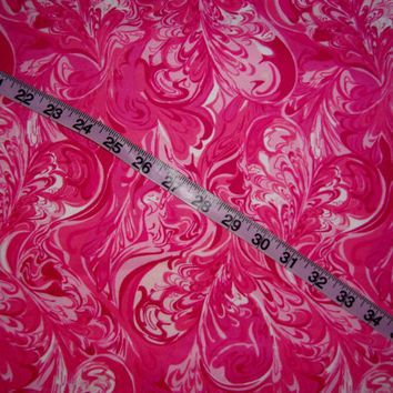 Pink Flannel fabric with hearts swirled ink design marble cotton quilting sewing material by the yard colorful