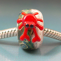 Handmade Lampwork Glass Big Hole Bead sra Gelly Universal BHB European Charm CRAB on BEACH