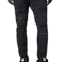 Bullhead Denim Co Stacked Skinny Zipper Destroyed Jeans - Mens Jeans - Black