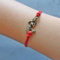 Bangle mermaid wrist bracelet ropes bracelet women bracelet girls bracelet made of red ropes and bronze mermaid  cuff  SH-1112