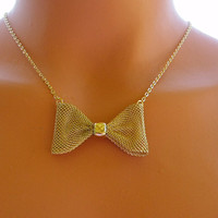 Gold Bow Necklace, Bow Tie Necklace, Gold Jewelry, Gold Necklace