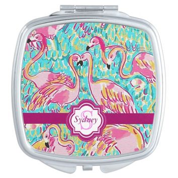 Preppy Pink Flamingos Compact Mirror