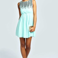Anna Sequin Embellished Pleated Skater Dress