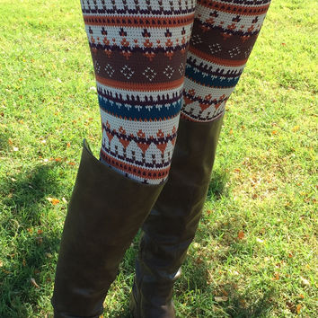 Brown and Teal Tribal Print Leggings