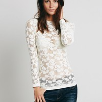 Free People Long Sleeve Cutout Lace Layering Top