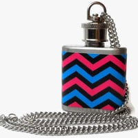 Flask Necklace 1oz - pink blue zigzag stripes - Conceal under shirt or display awesomeness. Looks like normal necklace when hidden