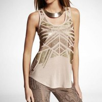 GEOMETRIC METALLIC SHIRTTAIL TANK at Express