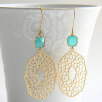 Gold Dangle Earrings - Matte Gold Filigree Pendant Dangle Earrings with Mint Faceted Drops