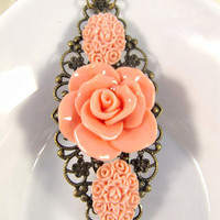 Vintage Style Peach Flower Necklace on Luulla