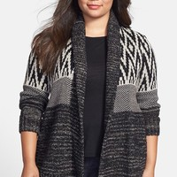 Plus Size Women's Lucky Brand 'Graphic' Open Front Cardigan