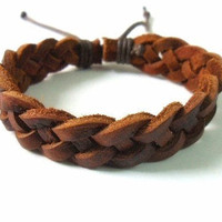Bangle leather bracelet women bracelet men bracelet woven bracelet made of brown leather woven cuff bracelet SH-1358