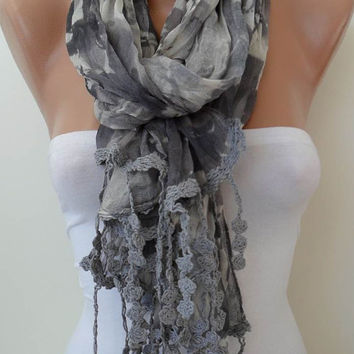 Grey Linen Scarf  with Trim Edge - New Collection