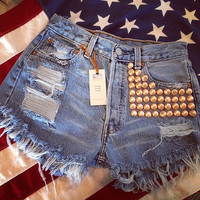 Levis high waist destroyed denim shorts super frayed with lots of ROSE GOLD studs