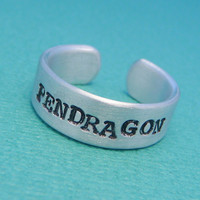 Merlin Inspired - Pendragon - A Hand Stamped Adjustable Aluminum Ring