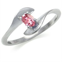 Natural Pink Tourmaline 925 Sterling Silver Bypass Engagement Ring RN0077114 SilverShake.com