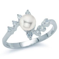Natural White Pearl & White Topaz 925 Sterling Silver Ring RN0046537 SilverShake.com