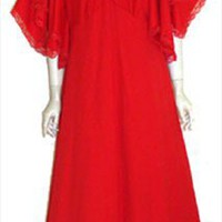 Candy Apple Red. 1970s Dress Hanky Hem Sleeves