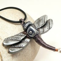 Dragonfly Art Jewelry Steampunk Pendant Urban Silver Gunmetal Wings