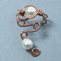 Copper Pearl Ear Cuff Elegant Lobe Enhancer Swarovski Pearl or Choose from 56