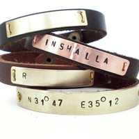 Personalized Leather Cuff Bracelet-.. on Luulla