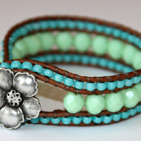 Custom Leather Wrap Cuff Bracelet  &quot;Beach Glam Collection 2012&quot;