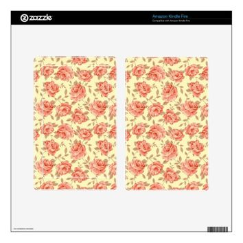 Vintage Pink Rose Flower Pattern Kindle Fire Skin