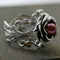 Pearl Rose Ring in Silver with Cranberry Pearl