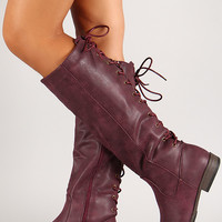 Nubuck Leatherette Back Laced Knee High Riding Boot