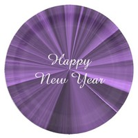 New Years Purple Paper Plates by Janz 9 inch