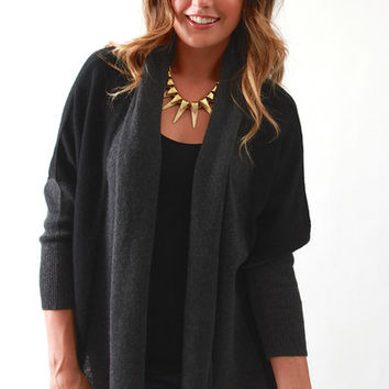 Subtle Luxury, Crop Shawl Jacket with Contrast in Black/Coal