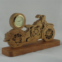 Vintage Style Motorcycle Mini Desk Clock Handmade From Cherry Wood Quartz 1-7/16 Clock Insert