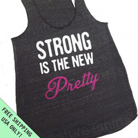 Strong is the New Pretty  Eco Heather Racerback Workout Tank Top Alternative Apparel Free Shipping