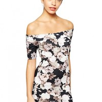 Black Floral OFF-Shoulder Dress - OASAP.com