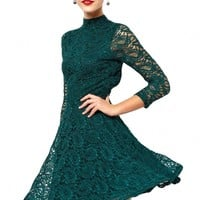 Back Cut-Out Long-Sleeves Crochet Lace Dress - OASAP.com