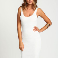 WHITE RUCHED SCOOPBACK BODYCON DRESS