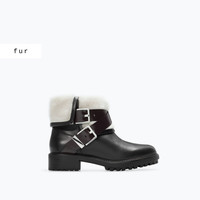 Fur lined leather ankle boot