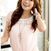Women Lace Round Neck Pleating Chiffon Short Sleeve One Size Pink Fitting Dress@MF3300p