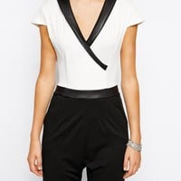 Lasula | Lasula Tuxedo Jumpsuit with PU Trim at ASOS