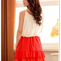 Women Chiffon Strap Round Neck Sleevless Fitting Pleating One Size Dress@MF3400o