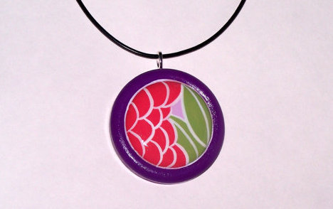 Hand Painted Wooden Pendant Necklac.. on Luulla